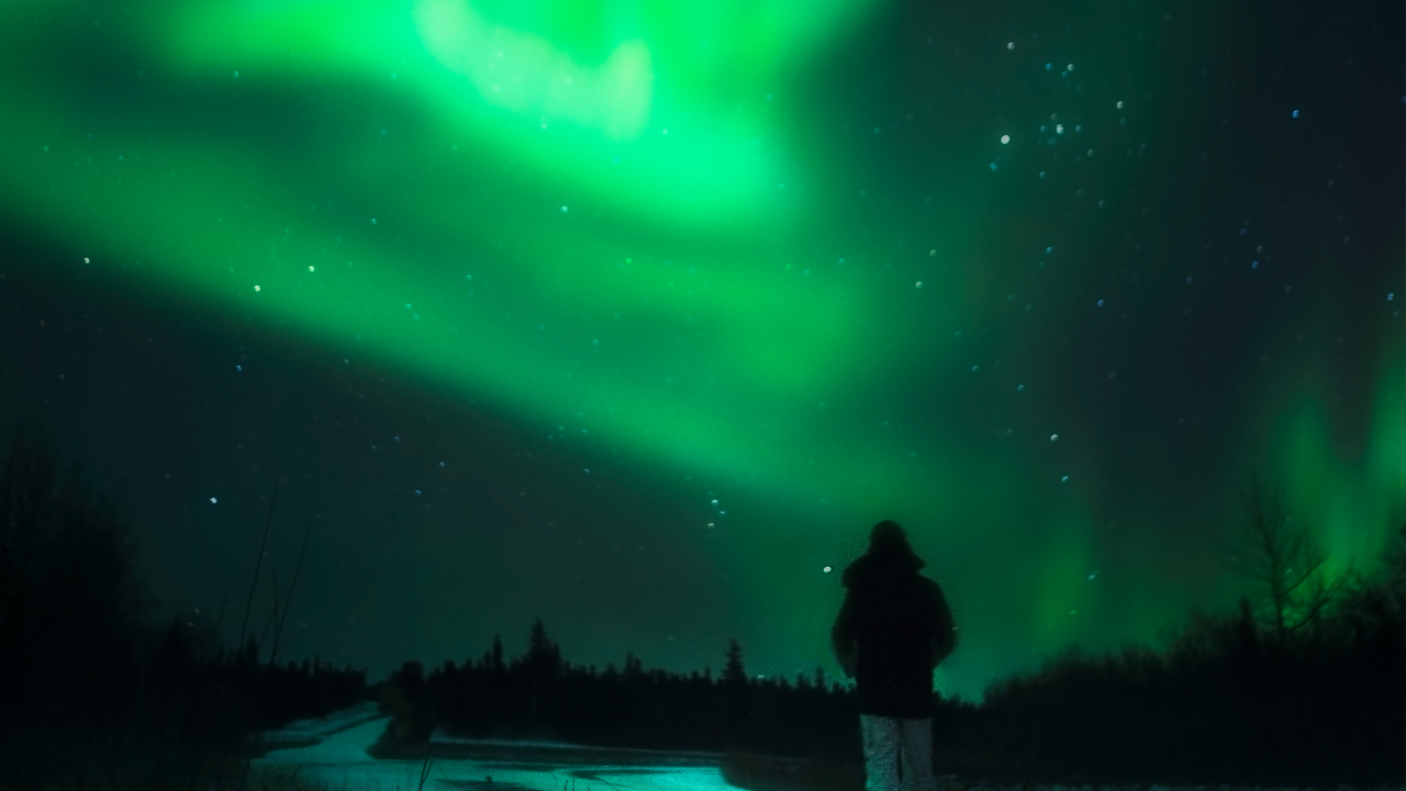 Viewing the Northern Lights near Fairbanks, Alaska