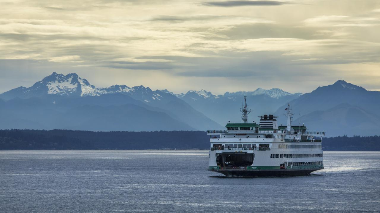 A ferry on the Puget Sound in Seattle, Washington