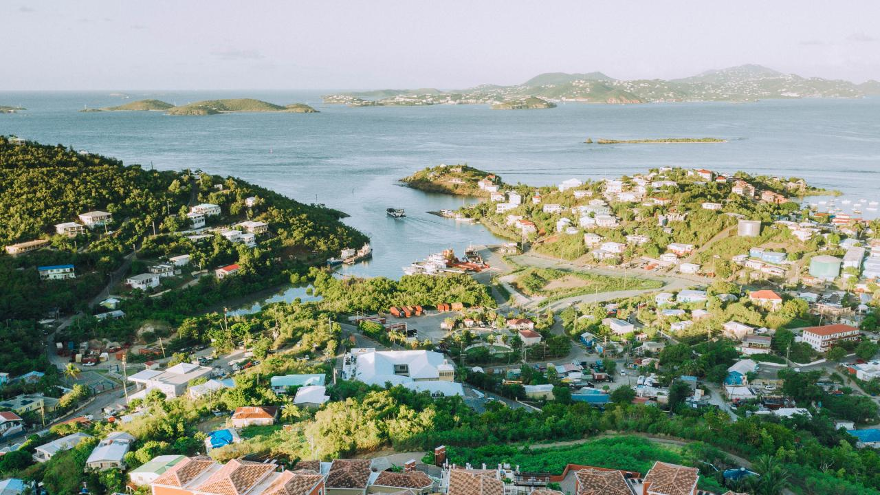 Aerial view of St. Thomas in the U.S. Virgin Islands