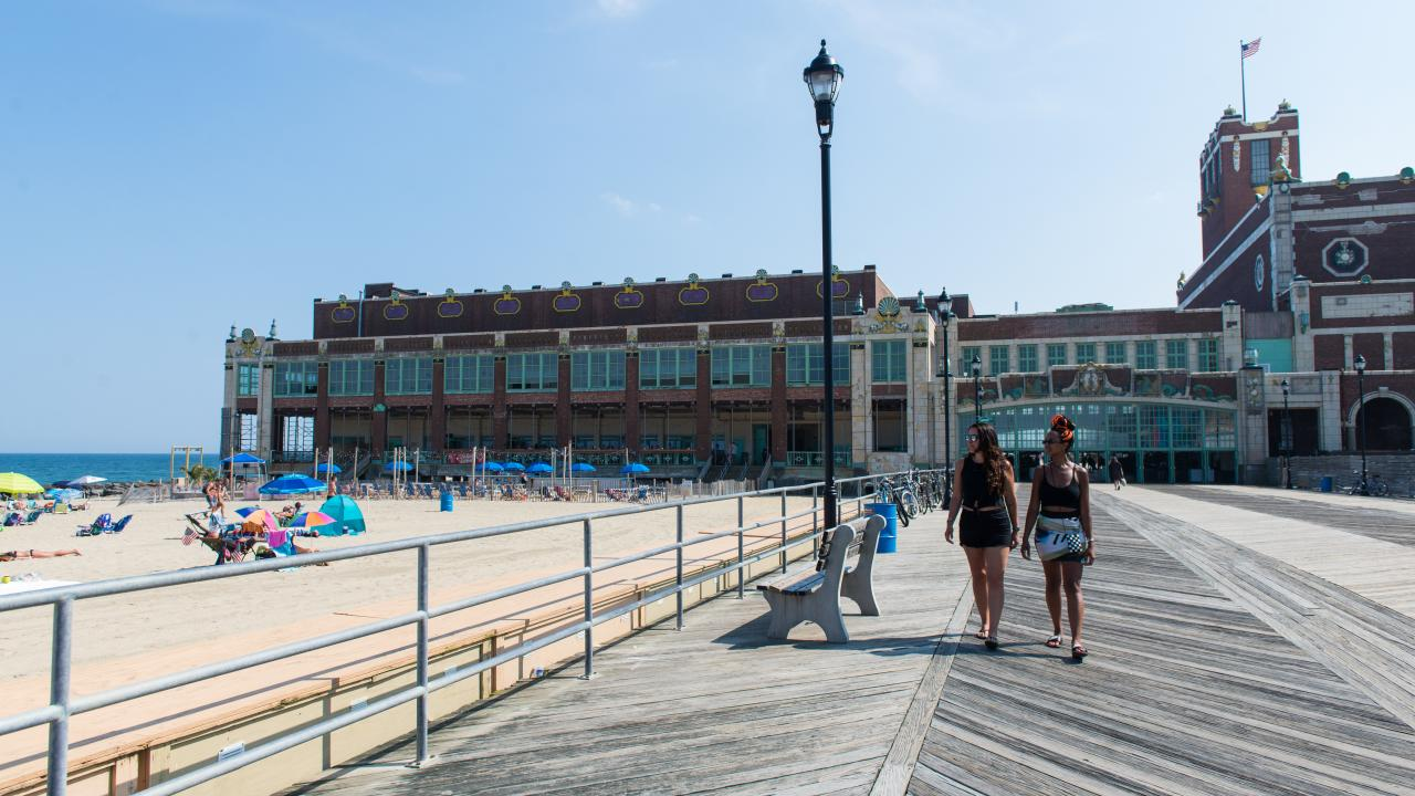 Strolling the boardwalk in Asbury Park, New Jersey