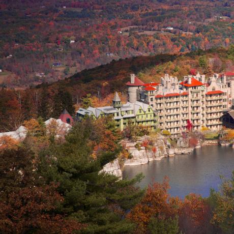 An aerial view of Mohonk Mountain House in New Paltz, New York, in the Hudson Valley
