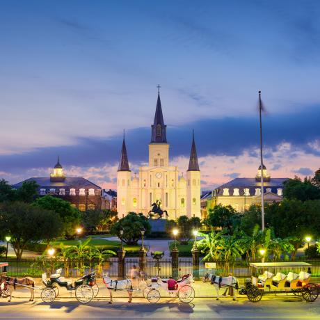 Dusk falls over Jackson Square and St. Louis Cathedral
