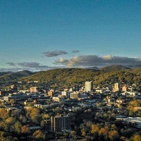Asheville, North Carolina skyline in the Blue Ridge Mountains