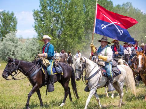 Reenacting the Battle of the Little Bighorn, also known as Custer's Last Stand