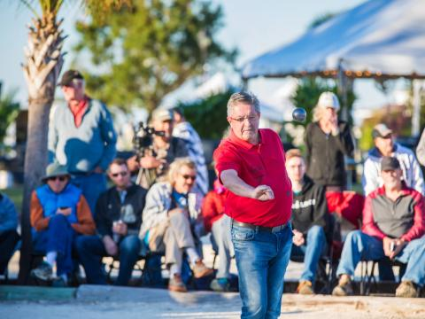 Competing during the Pétanque Amelia Island Open