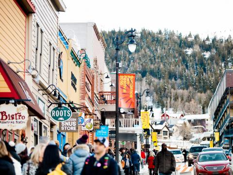 Park City teeming with people during the Sundance Film Festival