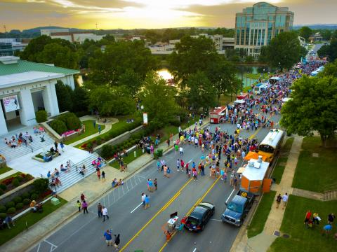 Aerial view of a Huntsville Food Truck Rally