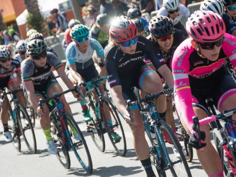 Cyclists competing in the Sun City Crit in El Paso, Texas