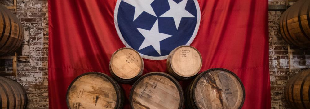 Whiskey barrels and the Tennessee state flag